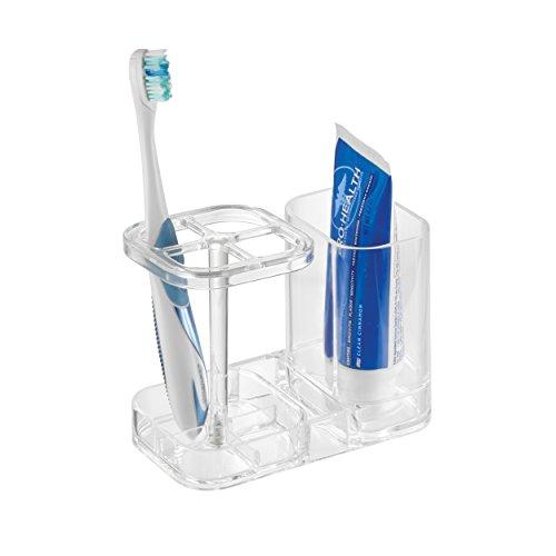 gris//plateado mDesign Soporte para cepillos de dientes Excelente porta cepillos de dientes de pl/ástico con detalles cromados Almacena cepillos dentales y dent/ífrico en el lavabo o los armarios