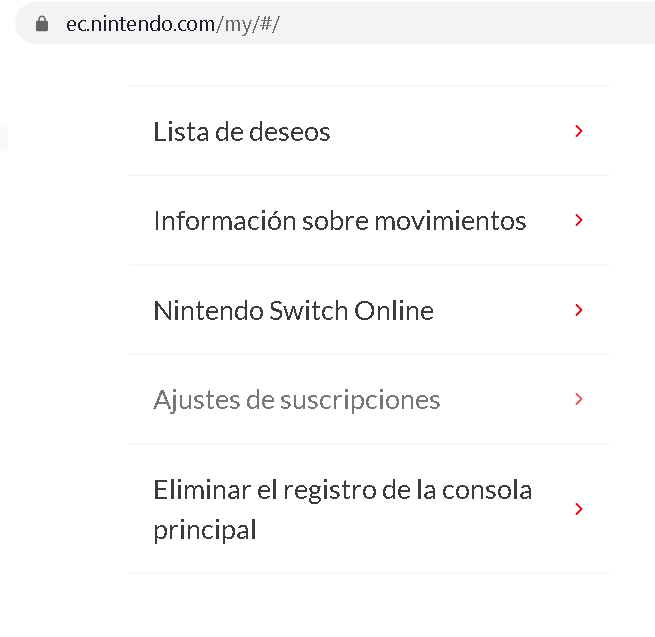 Suscripciones Nintendo Switch